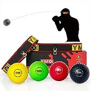 YMX BOXING Ultimate Reflex Ball Set - 4 React Reflex Ball Plus 2 Adjustable Headband, Great for Reflex, Timing