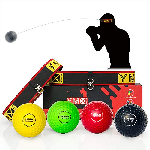 YMX BOXING Reflex Ball Set - 4 React Reflex Ball Plus 2 Adjustable Headband, Great for Reflex, Timing, Accuracy, Focus and Hand Eye Coordination Training of Boxing