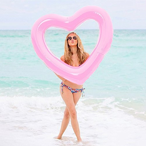 HANMUN Inflatable Swim Rings, 42 x39 Heart Shaped Swim Pool Float Loungers Tube Water Fun Outdoor Play Beach Party Decoration Ring Toys for Kids Adults(Pink)