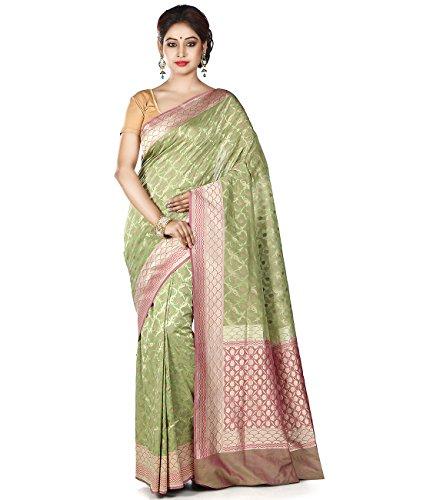 Maahir Garments Exclusive Indian Ethnicwear Pista Green coloured Pure Banarasi Georgette Handloom Saree by Maahir Garments