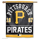 ": WinCraft MLB Pittsburgh Pirates 02846015 Vertical Flag, 27"" x 37"", Black"