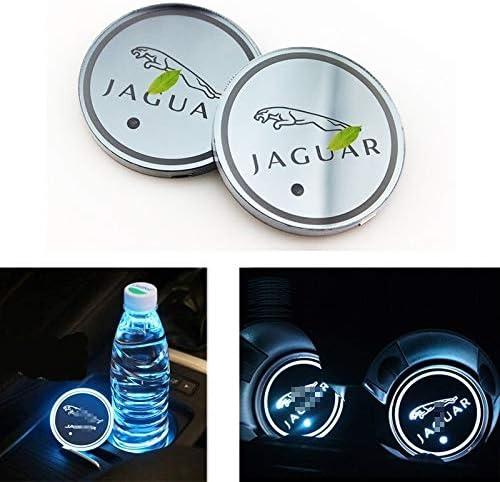 Guoliang Auto Logo Atmosphärenlichter Led Logo Wasserdichte Flasche Getränke Untersetzer 7 Farben Die Usb Ladematte Led Schalen Matte For Jaguar Xf Xj Xe F Pace Xfl 2st Auto
