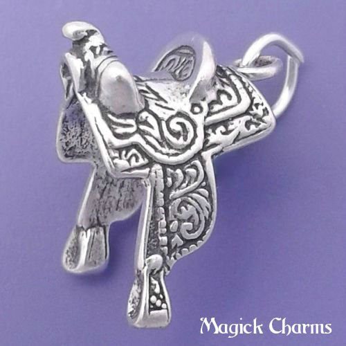 925 Sterling Silver 3-D Western Saddle Charm Horse Riding Pendant Jewelry Making Supply, Pendant, Charms, Bracelet, DIY Crafting by Wholesale Charms