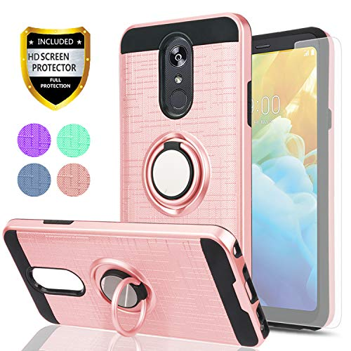 LG Stylo 4 Case,LG Q Stylus Case LG Stylo 4 Plus,Stylus 4 Case with HD Phone Screen Protector,YmhxcY 360 Degree Rotating Ring & Bracket Dual Layer Resistant Back Cover for LG Stylo 4-ZH Rose Gold