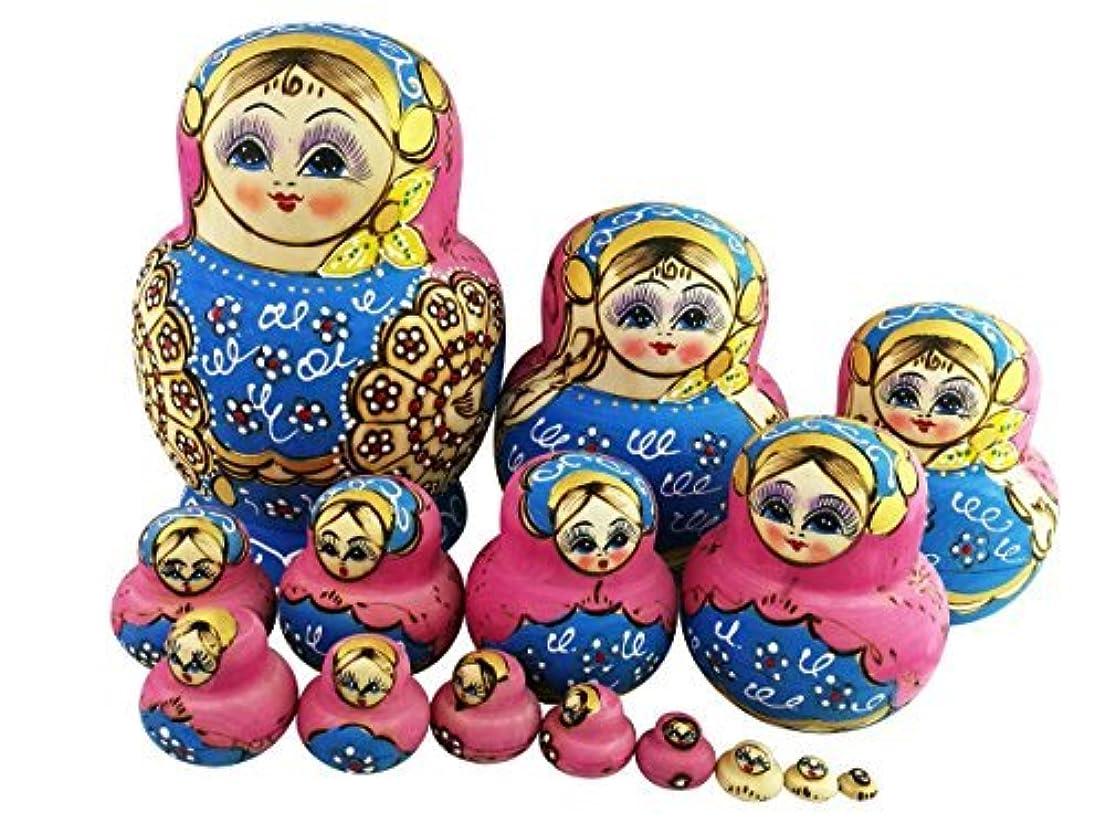 ピンくるみ実現可能性Winterworm Set of 15 Big Bulky Heart Shape Colorful Basswood Wooden Traditional Russian Nesting Dolls Matryoshka Kids Stacking Toys Christmas Birthday Festival Gifts Perfect Mother's Day Gift [並行輸入品]