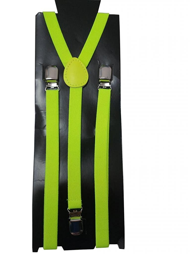 JTC Kids Adjustable Photo Prop Elastic Suspenders Solid Color Y Back Green