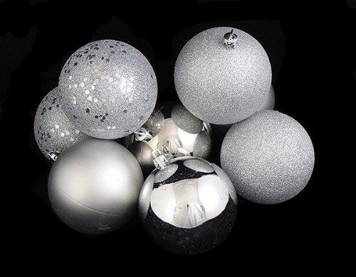 32ct Silver Splendor Shatterproof 4-Finish Christmas Ball Ornaments 3.25'' (80mm)