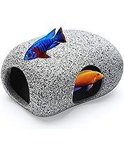 SpingSmart Aquarium Hideaway Rocks for Aquatic Pets to Breed, Play and Rest, Safe and Non-Toxic Fish Tank Ornaments, Ceramic Decor Rocks for Aquascape