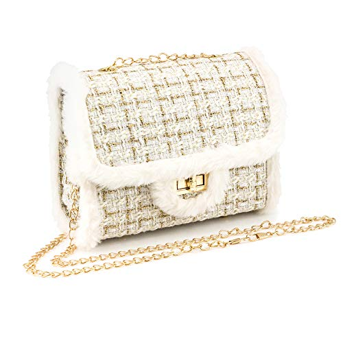 OCT17 Women's Small Crossbody Purse Bag Handbag Clutch Satchel Flip Gold Chain Faux Fur Trim (White)