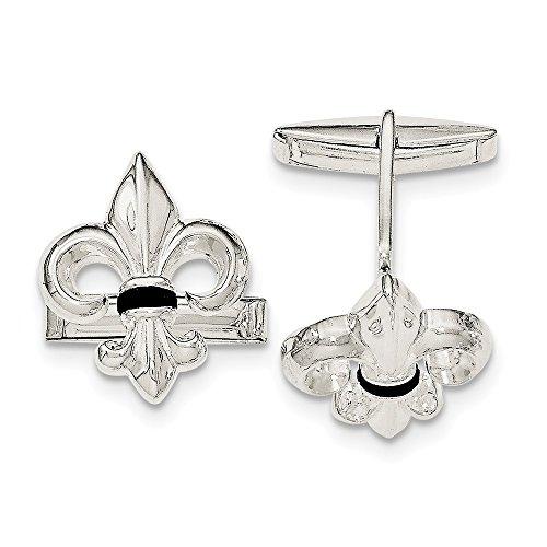 - 925 Sterling Silver Fleur De Lis Black Onyx Cuff Links Mens Cufflinks Link Man Fine Jewelry Gift For Dad Mens For Him