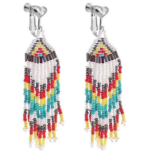 Bohemian Handmade Multi Color Fringe Clip on Earrings Long Bead Tassel Dangle Drop Wedding Prom Earring ()