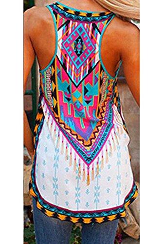 TOOGOO(R) Chaleco sin mangas de verano de impresa de correa vestido de mujeres blanco XL