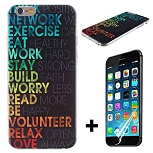 JAJAY Life Quotes Pattern Hard with Screen Protector Cover for iPhone 6 Plus