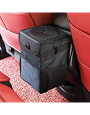 Ryhpez Car Trash Can with Lid - Car Trash Bag Hanging with Storage Pockets-Collapsible and Portable Car Garbage Can