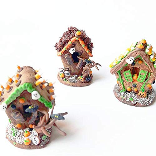 Set of three 1:2 Halloween Miniature gingerbread houses