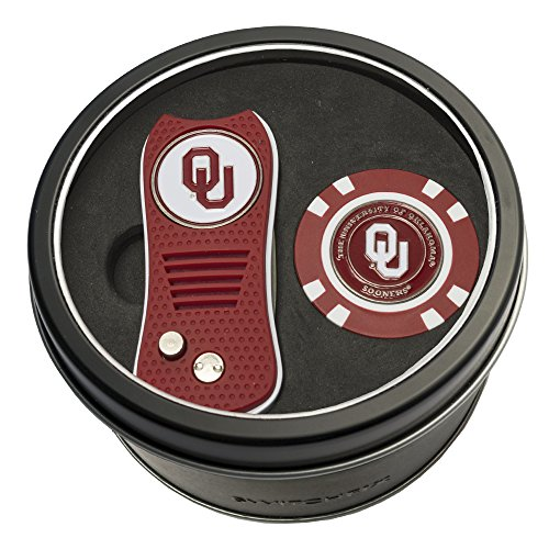 Team Golf NCAA Oklahoma Sooners Gift Set Switchblade Divot Tool & Chip, Includes 2 Double-Sided Enamel Ball Markers, Patented Design, Less Damage to Greens, Switchblade Mechanism