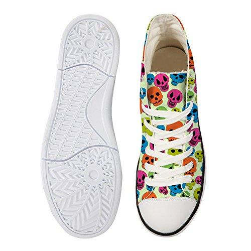 Pour U Conçoit Des Chaussures De Toile Haute Coupe Sneaker Saison Lace Ups Crâne Chaussures Formateurs Occasionnels Pour Le Crâne Des Femmes 13