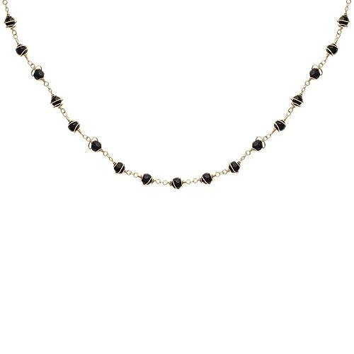 Nuovi Prodotti 4398e 681c4 Collana da donna, placcata in oro e resina, con perle nere ...