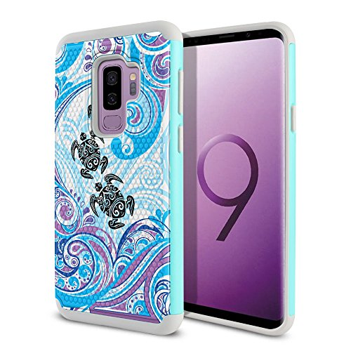 FINCIBO Case Compatible with Samsung Galaxy S9 Plus 6.2 inch, Dual Layer Football Skin Hybrid Protector Case Cover Anti-Shock TPU for Galaxy S9 Plus (NOT FIT S9) - Turtle with Blue Swirl