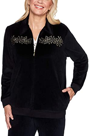 Amazon Com Alfred Dunner Women S Bright Idea Embellished Velour Jacket Clothing