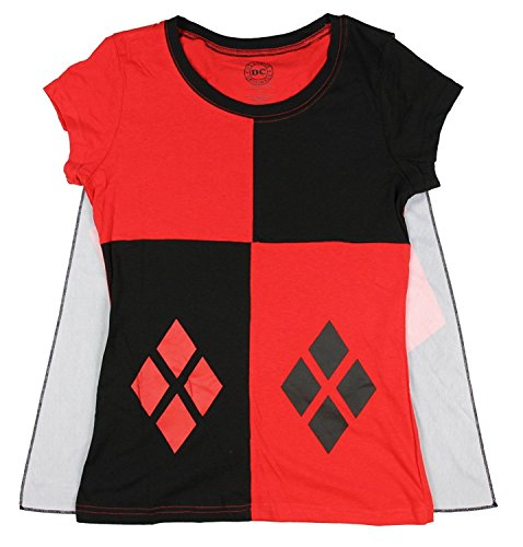 DC Comics Harley Quinn Juniors Cape Tee (XX-Large) (Heroes And Villains Clothing)