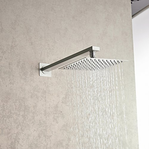 Aquafaucet Brushed Nickel Bathroom Luxury Rain Mixer Shower Combo Set Wall Mounted Rainfall Shower Head System (Contain Shower faucet valve body and trim) by Aquafaucet (Image #4)