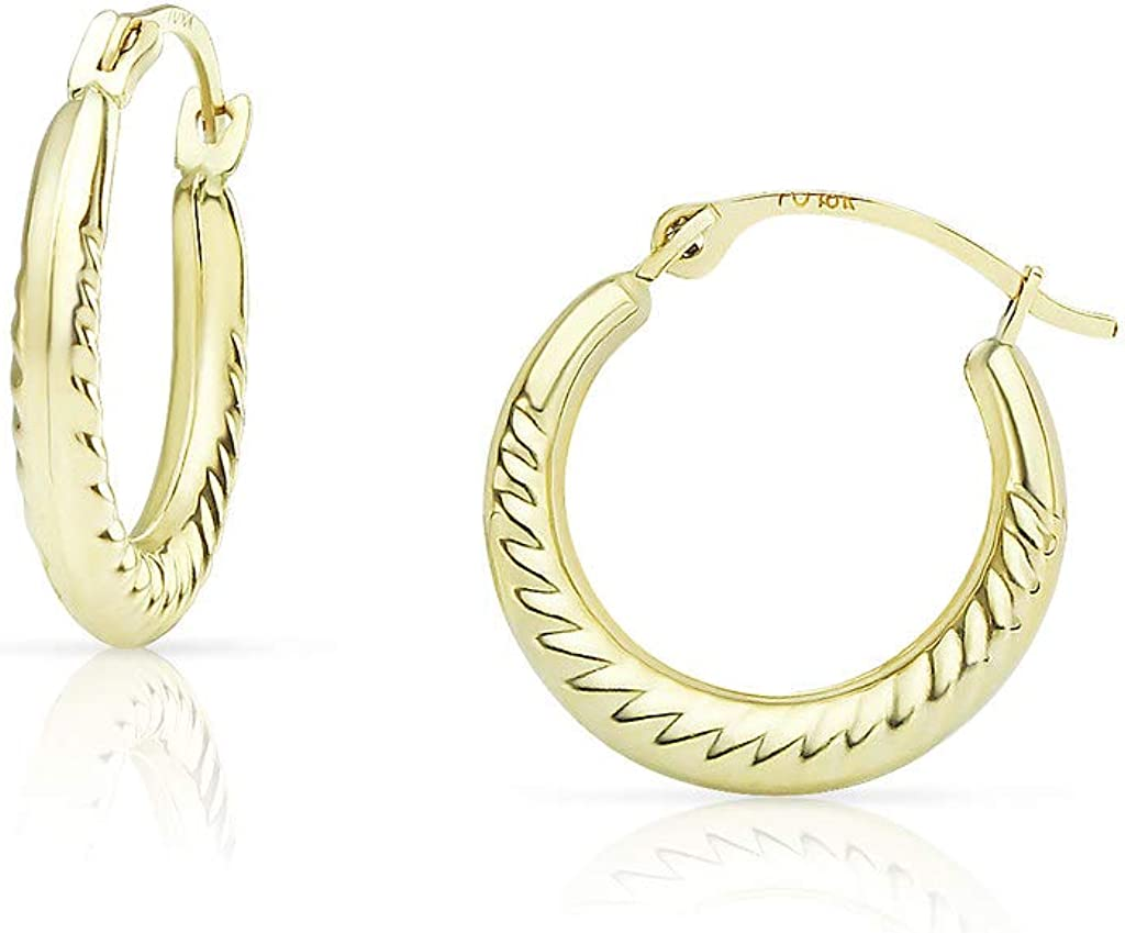 SOLIDGOLD- 10K Yellow Gold Twisted Rope Click Top Hoop Earrings