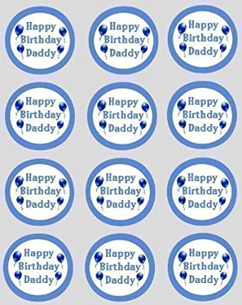 12 happy birthday daddy rice paper fairy cup cake 40mm toppers pre cut cake decoration
