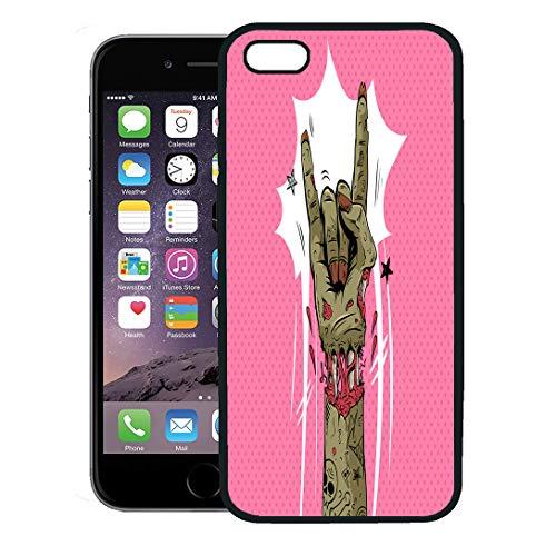 Semtomn Phone Case for iPhone 8 Plus case,Halloween Zombie Hand Shows Rock Gesture Punk Party Sketch Dead iPhone 7 Plus case Cover,Black -