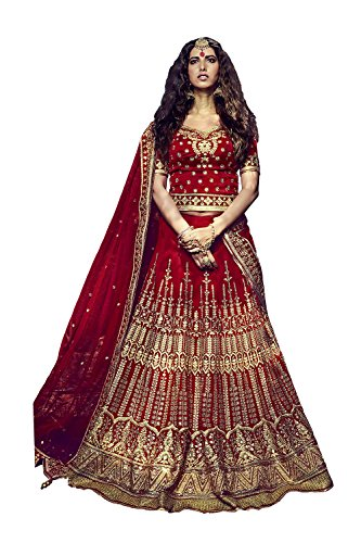 IWS Womens Red Striking Lehenga Choli With Lace Embroidery Work 81124