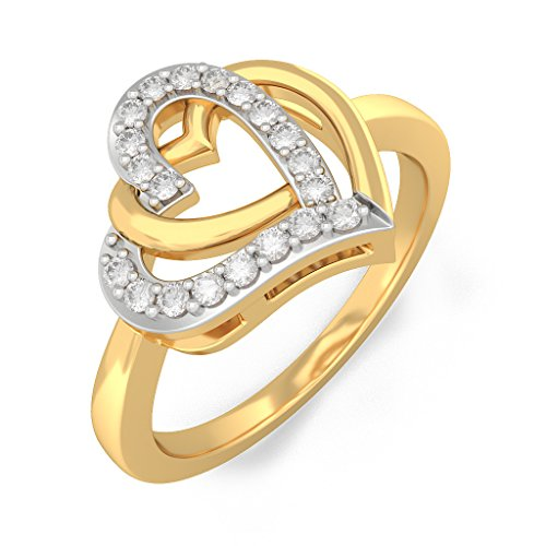 Certified 18K Yellow Gold (HallMarked), 0.1 cttw White Diamond (IJ | SI ) Diamond Engagement Wedding Ring Size - 11 by PEACOCK JEWELS