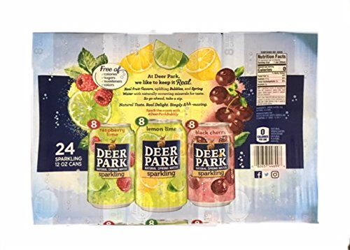 Deer Park Sparkling Spring Water Variety 24 Pack (Raspberry lime 8ct. Lemon Lime 8ct. Black Cherry 8ct.) -
