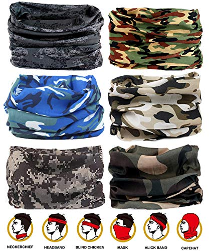 Headwear - 6PCS Scarf Bandanna Headband Yoga Sports Headband,Head Wrap,Balaclava Multifunctional Stretchable Sport Face Mask