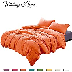 Egyptian Cotton Quality Vibrant Stone Washed Microfiber Orange Duvet Cover Queen 3 Pieces Set with Zipper Closure Corner Ties - Fade Stain Resistant Quilt Case Hypoallergenic Comforter Cover