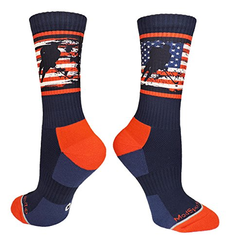 MadSportsStuff USA Flag Hockey Player Crew Socks (Navy/Red/White, Small)
