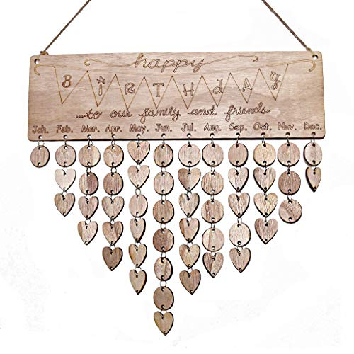 Large Hanging Plaque (YuQi Family Friends Calendar Wood Wall Hanging Plaque Family Friends Birthday Gifts DIY Reminder Wall Calendar Board for Home Decor (Brown))