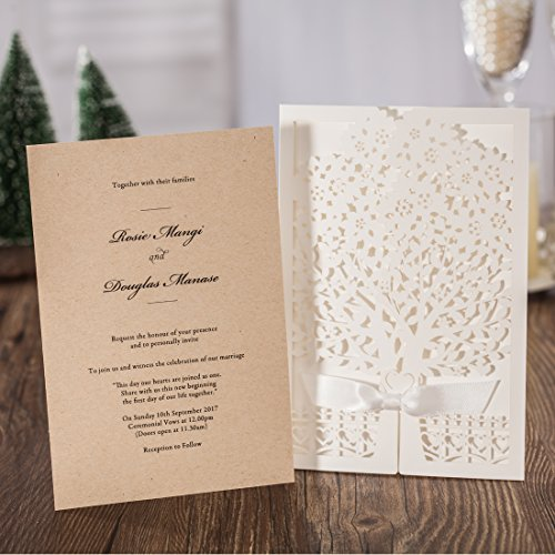 jofanza rustic laser cut wedding invitations set of 50pcs With kitchen colors with white cabinets with wedding invitation seal stickers