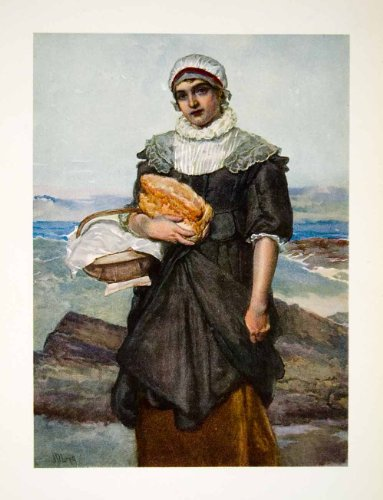 1906 Color Print French Fisher Woman Historic Cultural Costume James Linton Art - Original Color Print