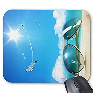 Mousepad Sunshine with Sunglasses - Summer Beach Theme Backgrounds Print Non-Slip Mouse Mat