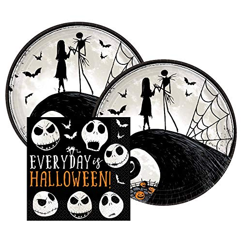 Nightmare Before Christmas Halloween Party Paper Dessert Plates and Paper Napkins, 16 Servings, Bundle- 3 Items -