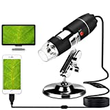 USB Microscope, 40X-1000X Digital Microscope 3 in 1 PCB Microscope Camera Magnification Endoscope Camera Portable Microscope with 8 Led, Metal Stand for Windows 7/8/10, Mac, Android with OTG, Linux (Color: black)