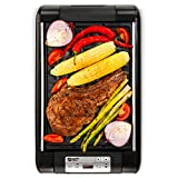 Magic-Mill Electric Smokeless Grill and Griddle Pan for Indoor BBQ in Your kitchen - Digital Temperature Control - Cooking Timer - Built in Fan for Smokeless Grilling