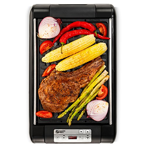 - Magic-Mill Electric Smokeless Grill and Griddle Pan for Indoor BBQ in Your kitchen - Digital Temperature Control - Cooking Timer - Built in Fan for Smokeless Grilling