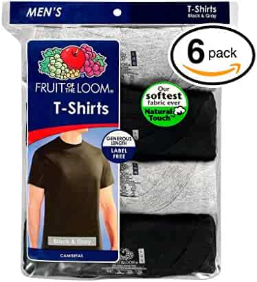 Fruit of the Loom Men's Stay Tucked Crew T-Shirt - XX-Large - Black & Grey Stay Tucked (Pack of 6)