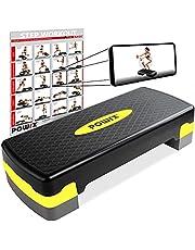 POWRX Stepbank voor thuis incl. workout I Stepper in hoogte verstelbaar en antislip voor aerobic, gymnastiek en fitness I Home Step Stepbank