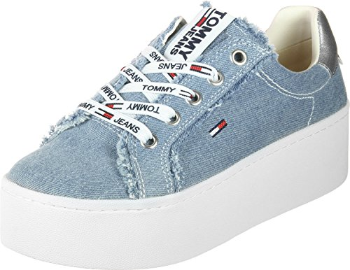 Femme Pour Bleu Tommy Baskets Jeans RTqn0wZp