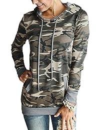 Women Hoodies-Tops- Floral Printed Long Sleeve Pocket Drawstring Sweatshirt with Pocket