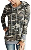 Angashion Women Hoodies-Tops- Floral Printed Long Sleeve Pocket Drawstring Sweatshirt with Pocket Camo S