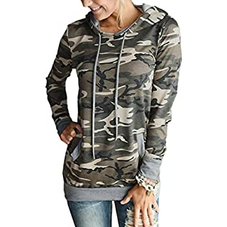 Angashion Women Hoodies-Tops- Floral Printed Long Sleeve Pocket Drawstring Sweatshirt with Pocket Camo XL