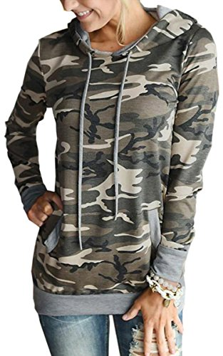 Angashion Women Hoodies-Tops- Floral Printed Long Sleeve Pocket Drawstring Sweatshirt with Pocket Camo S - Floral Girls Pullover